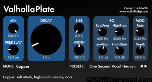Valhalla DSP ValhallaPlate v1.5.0dot25 Mac Free Download