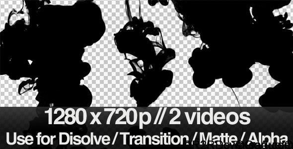 VIDEOHIVE 2 INK FLOWING IN WATER TRANSITION / MATTE / MASK – MOTION GRAPHIC FREE DOWNLOAD