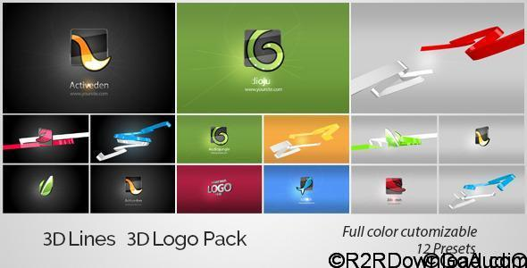 VideoHive 3D Lines 3D Logo Pack Free Download