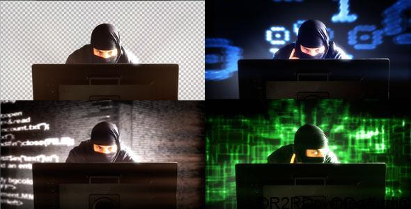 HACKER IN FRONT OF MONITOR'S COMPUTER – (4-PACK) – STOCK FOOTAGE (VIDEOHIVE)